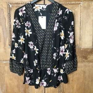 DR2 Black Floral Blouse Size Small